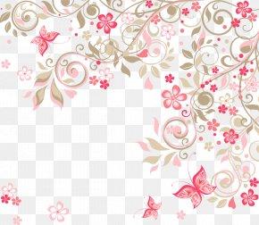 Romantic Pink Flowers Background - Wedding Invitation Flower Rose Clip Art PNG