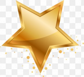 Gold Five-pointed Star - Five-pointed Star Adobe Illustrator Clip Art PNG