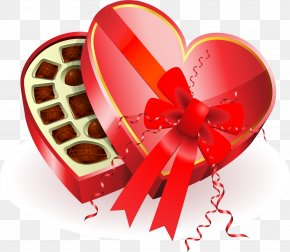 Large Heart Chocolates Box Clipart - Chocolate Box Art Heart Valentine's Day Clip Art PNG