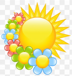 Spring Sun With Flowers Clipart - Flower Spring Clip Art PNG