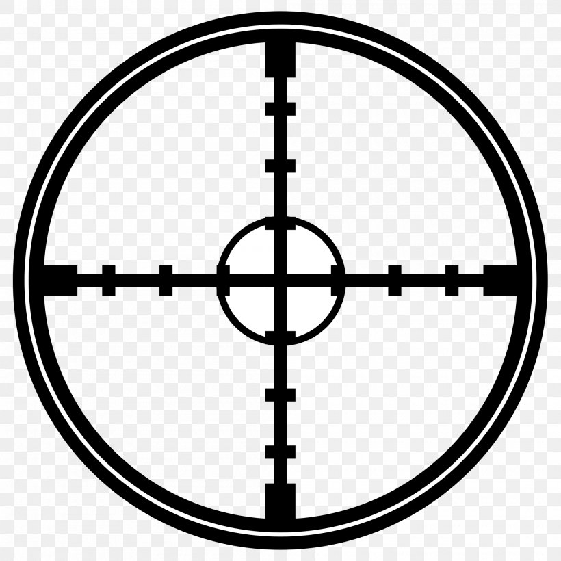 Reticle Clip Art, PNG, 2000x2000px, Reticle, Area, Black And White, Firearm, Icon Download Free