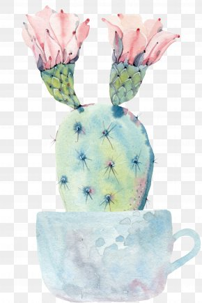 Hand Painted Watercolor Potted Cactus - Cactaceae Watercolor Painting Succulent Plant Saguaro PNG