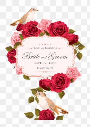 Rose Painted Birds Vector - Wedding Invitation Rose Euclidean Vector PNG