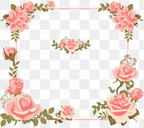 Valentine's Day Card Hand-painted Pink Rose Borders - Euclidean Vector Rose Flower Pink Icon PNG