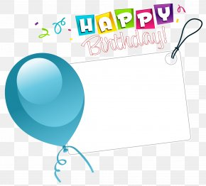 Happy Birthday Transparent Sticker With Blue Balloon - Birthday Greeting Card Clip Art PNG
