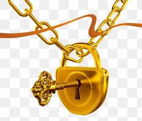 Gold Lock And Key - Keychain Lock Skeleton Key PNG