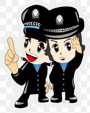 Beautiful Handsome Special Police - Police Officer Cartoon Chinese Public Security Bureau Firefighter PNG