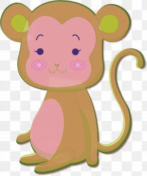 Cute Little Monkey - Monkey Cartoon Illustration PNG