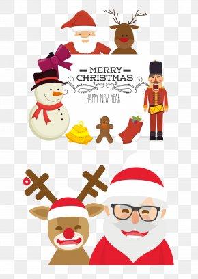 Vector Cartoon Santa Claus Reindeer - Santa Claus Reindeer Christmas PNG