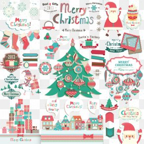 Playful Christmas Design Element Vector Material - Santa Claus Christmas Decoration Gift PNG