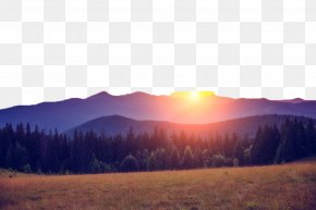 Beautiful Mountain Scenery Field - Stock Photography Download Wallpaper PNG