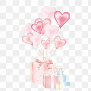 A Gift Box With A Heart Shaped Balloon - Balloon Gift Birthday Clip Art PNG