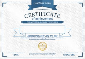 Vector Blue Border Certificate - Template Diploma Academic Certificate PNG