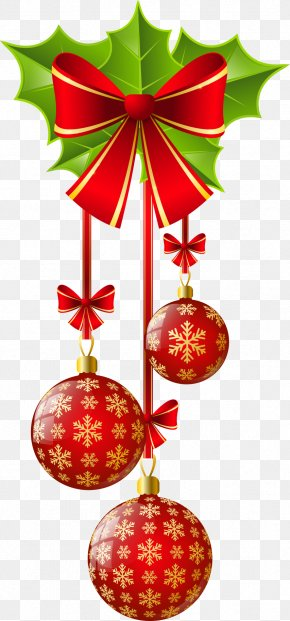 Red Bow And Christmas Balls - Christmas Ornament Christmas Decoration Clip Art PNG