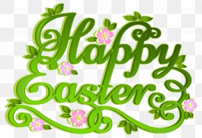 Green Happy Easter Transparent Clip Art Image - Easter Egg Clip Art PNG