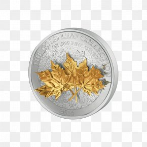 Leaf - Gold Leaf Silver Maple Leaf Coin PNG
