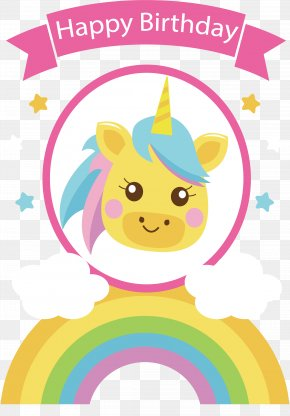 Rainbow Bridge Unicorn Birthday Card - Happy Birthday To You Party Clip Art PNG