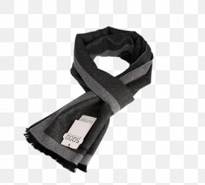 England Brushed Silk Black And Gray Business Men's Scarves - Scarf PNG