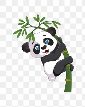 Bamboo Panda - Giant Panda Bear Cartoon Bamboo PNG