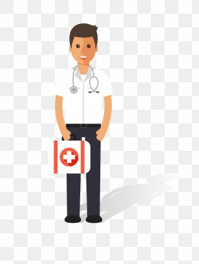 Vector Cartoon Male Doctor Material - Nursing Physician Patient PNG