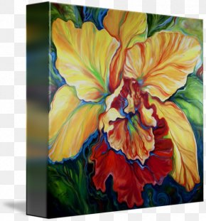 Tropical Orchid - Watercolor Painting Modern Art Gallery Wrap PNG