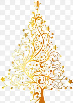 Christmas Decoration Branch - Christmas Tree Gold PNG