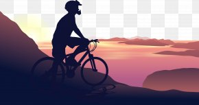 Bike Summit - Cycling Silhouette Euclidean Vector Nature PNG