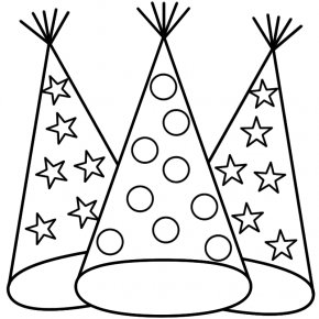 New Year Party Images - New Years Eve Coloring Book New Years Day Party Hat PNG