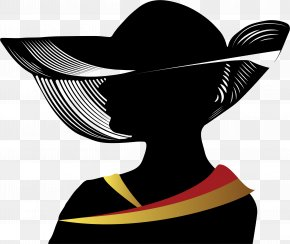 Lady Hat Cliparts - Woman With A Hat Silhouette Clip Art PNG