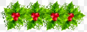 Christmas Holly Garland Transparent Clip Art Image - Christmas Garland Wreath Clip Art PNG