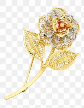 Gold Flowers - Brooch Jewellery Earring Gold Bangle PNG
