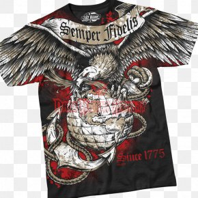 T-shirt - T-shirt Semper Fidelis United States Marine Corps Eagle, Globe, And Anchor Military PNG