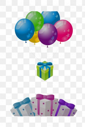 Multicolored Balloons And Gift Box - Balloon Gift Box Gratis PNG