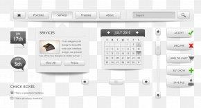 Black And White Gray Minimalist Web Design - User Interface Web Page Button Web Design PNG