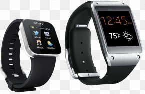 Black Men's Smart Watch - Samsung Galaxy Gear Sony SmartWatch 3 Mobile Phone PNG