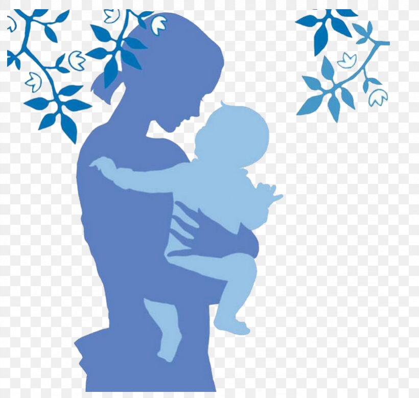 Silhouette Mother Cartoon Illustration, PNG, 821x780px, Silhouette, Area, Art, Blue, Cartoon Download Free