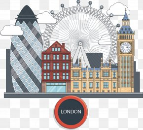 Hand-painted Building Vector London - London Eye Euclidean Vector Icon PNG