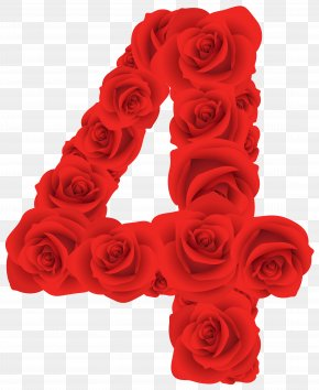 Red Roses Number Four Clipart Image - Number Clip Art PNG