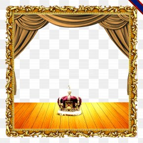 Luxurious Golden Curtains Frame Collection Creative Crown - Curtain Light PNG
