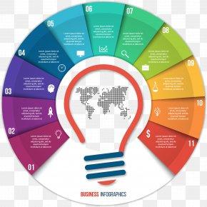 Chart Bulb Shape Vector Elements - Diagram Chart Infographic PNG