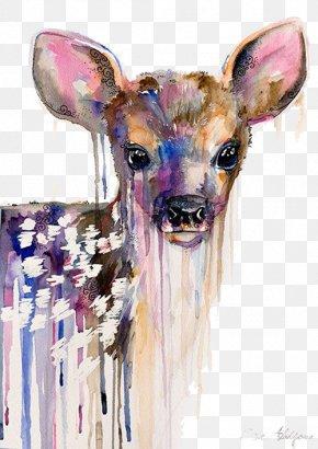 Oil Painting Of Deer - Deer Watercolor Painting Art Portrait PNG