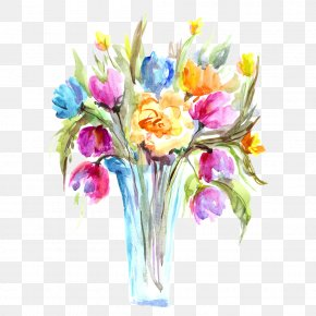 Tulip Table Flowers Watercolor Picture Material - Poppy Flowers Watercolor Painting Ink Wash Painting Vase Illustration PNG