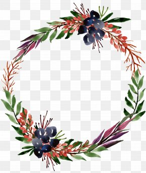 Purple Flower Wreath Of Green Leaves - Wreath Tree Christmas Ornament PNG