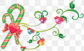 Mistletoe - Candy Cane Christmas Ornament Clip Art PNG