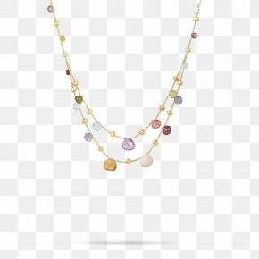Necklace - Marco Bicego Paradise Necklace Gemstone Jewellery Marco Bicego Paradise Gold & Mixed Stone Graduated Two Strand Necklace PNG