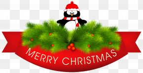Merry Christmas Decor With Penguin Clipart Image - Penguin A Maigret Christmas PNG