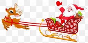 Deer Pulling Santa's Sleigh - Santa Claus's Reindeer Sled Clip Art PNG