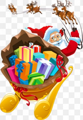 Santa - Santa Claus's Reindeer Sled Clip Art PNG