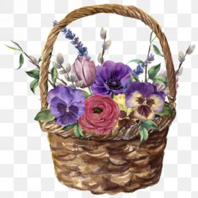 Watercolor Basket - Floral Design Watercolor Painting Flower Basket PNG