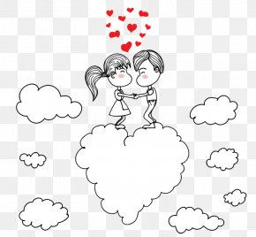 Couple On Clouds - Drawing Romance Couple Sketch PNG